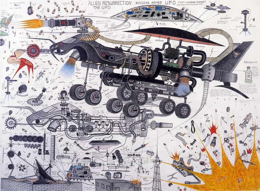 Abu Bakarr Mansaray (1970, Sierra Leone) Allien Resurrection [sic], 2004 Graphique, colored pencils, feutre on paper, 150 x 205 cm - Framed : 160,6 x 212,5 x 4 cm Courtesy CAAC – The Pigozzi Collection